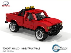 Unbreakable Toyota Hilux - TopGear (lego911) Tags: toyota hilux bbc topgear top gear indestructible auto car moc model miniland lego lego911 ldd render cad povray lugnuts challenge 119 extremeterrainadventures extreme terrain adventures 1981 n40 foitsop