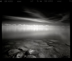 Levels (tsiklonaut) Tags: pentax 67 6x7 film analog analogue analogica analoog 120 roll medium format keskformaat black white negro y blanco mustvalge landscape seascape water reflection rocks long exposure lake peipus peipsi järv horizon clouds sky deep meditation estonia eesti estonian drum scan drumscan scanner pmt travel discover experience