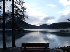 Tranquility ... (Mr. Happy Face - Peace :)) Tags: bench benchmonday sky cloud sun lake scenery landscape trees twilight art2017 morning canada albertabound alberta banff park mood love nature boathouse
