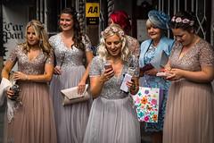 Bridesmaids (Ramireziblog) Tags: bridesmaids phone ludlow shropshire canon 6d street straat hoedjes jurken rokken bling apple iphone silver gold aa