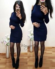 Модное женское вязанное платье с вырезами на плечах темно-синее (arrkareeta) Tags: