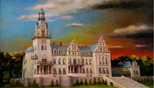 New Castle of Kokenhusen (Koknese) in Latvia. Painting by Pavils Karps