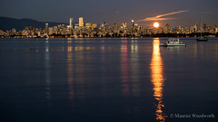 Harvest Moonrise (Moe W) Tags: longexposure englishbay jerichobeach sunset pacificnorthwest fujifilm xe2 vancouver bc canada mauricewoodworth downtown citycore moon rise clouds reflection towers highrise boats water mountains harvestmoon reflections