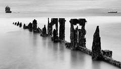 North Sea Gothic (Black & White Version) (PeskyMesky) Tags: aberdeen aberdeenbeach longexposure le water sea ocean landscape groyne