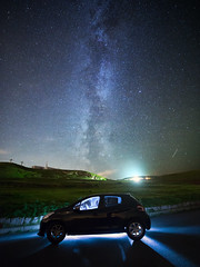 Madge and the Milky Way, Great Orme, Llandudno. (G-WWBB) Tags: milkyway greatorme orme llandudno stars sky night nightsky astro astronomy car peugeot peugeot208 torch silhouette