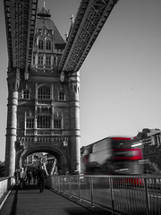 A red bus on the tower bridge... (davYd&s4rah) Tags: blackandwhite omd olympus hauptstadt towerbridge traffic rot red farben colours colors colourkey citylife cityscape capital metropole london