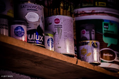 Up In The Garage! (BGDL) Tags: lightroomcc nikond7000 afsnikkor55200mm1456g bgdl garage paintpots 7daysofshooting week16 shelfshelves wornandweatheredthursday