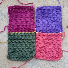 Two columns of two crochet squares each (crochetbug13) Tags: crochetbug crochet crocheted crocheting olek loveacrosstheusa crochetmural crochetposter publicart crochetsquares doublecrochetsquares