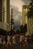 The dinner crowds emerge (OzzRod) Tags: pentax k1 hdpentaxdfa28105mmf3556 street pedestrian people buildings trees mountains pali clouds waikiki honolulu hawaii dusk