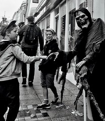 301/365 What's Up (denise.ferley) Tags: bw blackandwhitephotography boys respect streetphotography street shoppers shopping peoplewatching people pavement life fun halloween norwich city citylife candid cityboys thisisengland thisisnorwich uk urban england 365 3652017