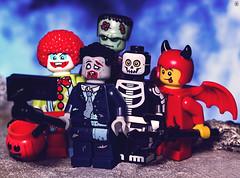 Halloween Selfie (jezbags) Tags: lego legos toy toys macro macrophotography macrolego macrodreams canon60d canon 60d 100mm closeup upclose halloween monster selfie pumpkin photo photographer zombie clown skeleton devil frankenstein