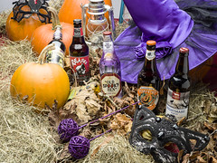 Halloween 2017. (johnhjic) Tags: johnhjic x1d hasselblad broncolor siros studio flash strobe mask beer old spooky hen nightmmare hay red lamp lamps black sheep blacksheep wychwood moreland ales ale pumpking pumpkings conical crown witch witcheshat hat lace still life stilllife witchwand wand rose silk silkrose