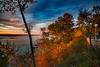 First morning rays (BLEUnord) Tags: automne autumn jour day sky arbres trees orange colors couleurs paysage landscape charlevoix lamalbaie québec canada provincedequébec province stlaurent stlawrence fleuve river rayons rays soleil sun nuages clouds automnal autumnal octobre october