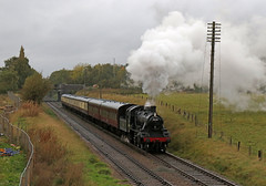 78018 - Woodthorpe - Great Central railway (Andrew Edkins) Tags: 78018 standard2 br steamtrain woodthorpe greatcentralrailway preservedrailway rain light travel trip geotagged canon october 2017 autumn loughborough leicestershire england uksteam railwayphotography fence cutting