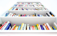 The Library of Life (DobingDesign) Tags: books shelves white abstract shapes differentsizes colours stacks lines rows repetitive repeating pattern minimalist giant depthoffield knowledge words