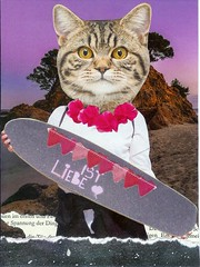 1 + 1 October (Rocky_Beach) Tags: swapbot mailart postcard cat purple