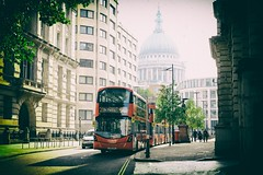 (Daniel-Charles) Tags: cathedral city london uk gb britain england vintage colour color bus double decker red dome background fujifilm xpro2