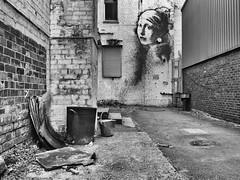 Vermeerish Street Art (Maggie's Camera) Tags: streetart girlwithapearlearring vermeer vermeerish monochrome bristol october2017 black white