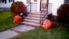 Halloween decorations - SFS (Maenette1) Tags: halloween decorations stairs porch pumpkinleafbags house neighborhood menominee uppermichigan saturdayforstairs flicker365 michiganfavorites