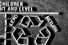Sidelit (Macro Monday Outtake) - Children Straight and Level (thatSandygirl) Tags: sidelit lighting macro blackandwhite carbattery graphic recycle lead return text warning texture