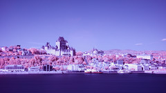 Old Quebec City in Infrared (Memory Trigger) Tags: lawrence ship building infrared river hotel port frontenac city canada infrarouge quebec center laurent cokin p007