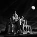 Basilique du Sacré Coeur de Montmartre (Paris) (laurentcornu) Tags: eglise paris nikond700 samyang14mmf28 landscape church sacrécoeur night moon moonlight france monochrome nuit noirblanc blackwhite bw