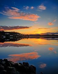 Røyksund, Norway (Vest der ute) Tags: g7x norway rogaland røyksund sea seascape reflections mirror sky clouds houses sunrise earlymorning rocks boats outdoor serene fav25