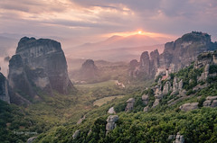 Meateora Sunset (pietkagab) Tags: sunset meteora grece thessaly landscape greek mountains nature clouds sky monastery europe european pietkagab photography pentax piotrgaborek pentaxk5ii travel trip tourism trekking trek hike adventure sightseeing haze hazy