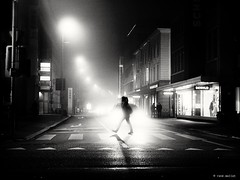 Here comes the first foggy day (René Mollet) Tags: foggy nightshot streetphotogrphie misty woman backlight blackandwhite streetligth streetphotograpybw urbanstreet urban renémollet
