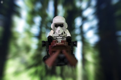 Scout Trooper (jezbags) Tags: lego legos toys toy starwars legostarwars canon60d canon 60d 100mm closeup upclose macro macrophotography macrodreams macrolego troopers trooper stormtrooper stormtroopers scout speeder bike endor trees speed motion blur