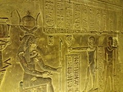 Hathor with servants (mikescottnz) Tags: upperegyptsept2017 hathorseated anksymbol hieroglyphs ankh