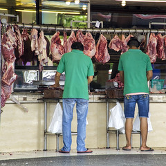 Team Meating (Beegee49) Tags: meat shop butchers butcher cutting street bacolod city philippines
