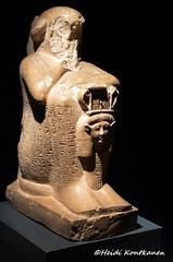 Statue of Ameneminet (konde) Tags: 19thdynasty ramsesii ameneminet blockstatue hathor sistrum goddess hieroglyphs limestone newkingdom luxormuseum deirelbahri ancientegypt statue hieroglyfejä