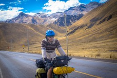 Andrew back in the saddle in Southern Peru with some startling melted glaciers in the background.