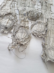 work in progress (Ines Seidel) Tags: newspaper paper news altered sewing yarn stitching circles zeitung wip workinprogress papier