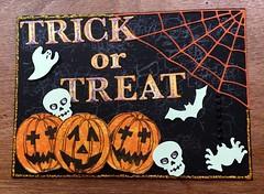 Hallowe'en postcard (CraftyBev) Tags: spooky spider pumpkins hallowe'en diecuts postcard