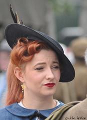 NYMR 1940's Weekend (2017) 048 (Row 17) Tags: redhead england yorkshire pickering people woman women hat hats reenactment reenactor reenactors nikon candid portrait 1940s northyorkmoorsrailway event