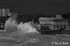 Sea breach. (Dan H Boyle) Tags: english channel storm iow isle wight black white monochrome freshwater bay waves breach rough seas