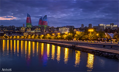 Flame Towers, Baku (AdelheidS Photography) Tags: adelheidsphotography adelheidsmitt adelheidspictures azerbaijan baku flametowers architecture caucasus canoneos6d canonf4l2470mm waterfront skyline dusk evening city cityscape caspian sea caspiansea coast capitalcity oil boulevard park sky water