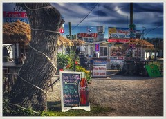 """""""WE'RE VOTED #1 . . .."""" (NC Cigany) Tags: sexytree tripadvisor signs cocacola iphone boats alfresco outside ragtag weather tree color water food seafood restaurant northcarolina nc calabash"""