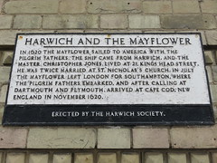UK - Essex - Harwich - Plaque commemorating Harwich's connection with the Mayflower (JulesFoto) Tags: uk england essex centrallondonoutdoorgroup clog harwich plaque mayflower