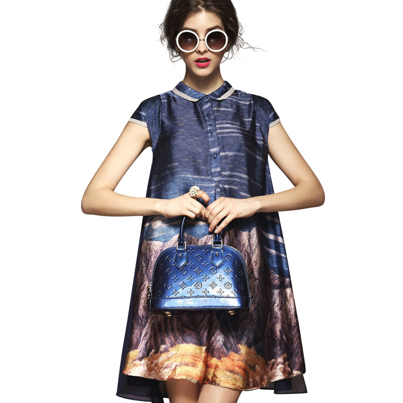 Wan Ting special offer leisure summer clearance code fat MM printing loose thin A word Skirt Dress Girls Long