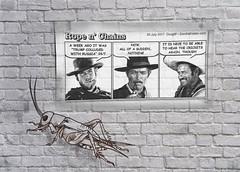 Rope n' Chains Poster (Grain Sand) Tags: ropenchains poster cartoon graffiti cricket brickwall politics clinteastwood leevancleef aldogiuffre mariobrega eliwallach movie meme spaghettiwestern drawing