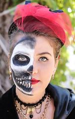 Feeling Half Dead? Good, Its Halloween! (wyojones) Tags: texas texasrenaissancefestival toddmission texasrenfest renfest renfaire renaissancefaire faire renaissancefestival festival trf halloween diadelosmeautos skeleton scary bones allhallowseve halfdead maidem beauty woman girl hat brunette lipstick makeup beautiful