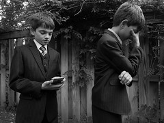 (heatherbirdtx) Tags: boys twins brothers suits outdoor backyard gesture expression pinstripes fence ivy blackandwhite availablelight outtake portrait session easter siblings