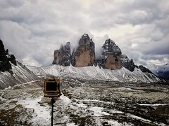 Shooting the Tre Cime with an Intrepid Camera (Andibart) Tags: alpen dolomiten dreizinnen southtyrol trecime mountains landscape mountainscape intrepid largeformat clouds