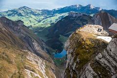 The view of Lake Seealpsee from the Säntis in Switzerland (potto1982) Tags: mountains mountain nikon landschaft europa nature see switzerland berge berg lake swiss natur landscape säntis grün alps 2017 sigma seealpsee schweiz alpen hiking nikond810 sky green himmel europe d810 landschaftsbild urnäsch appenzellausserrhoden ch