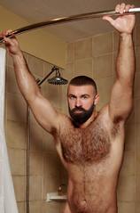 210 (rrttrrtt555) Tags: hair hairy chest beard buzz buzzcut muscles arms armpit flex shower curtain bathroom water wet attitude stare masculine eyes shoulders