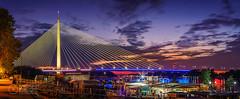 Ada-Bridge-Twilight-2 (Predrag Mladenovic) Tags: belgrade sava river ada bridge newrailway gazela sunset twilight reflections citylights