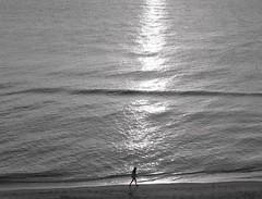 Sunset Walk in Longboat Key (AndyS03) Tags: blackandwhite longboatkey sarasota florida woman lowlight dusk water sunset shore beach